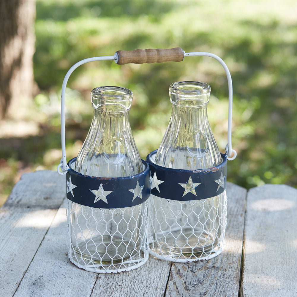 Patriotic Milk Glass Caddy