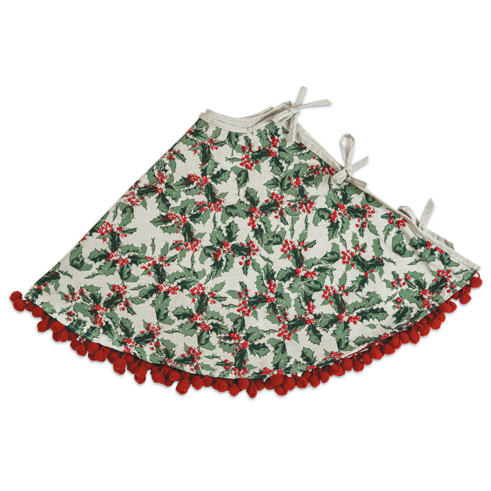Festive Holly Christmas Tree Skirt