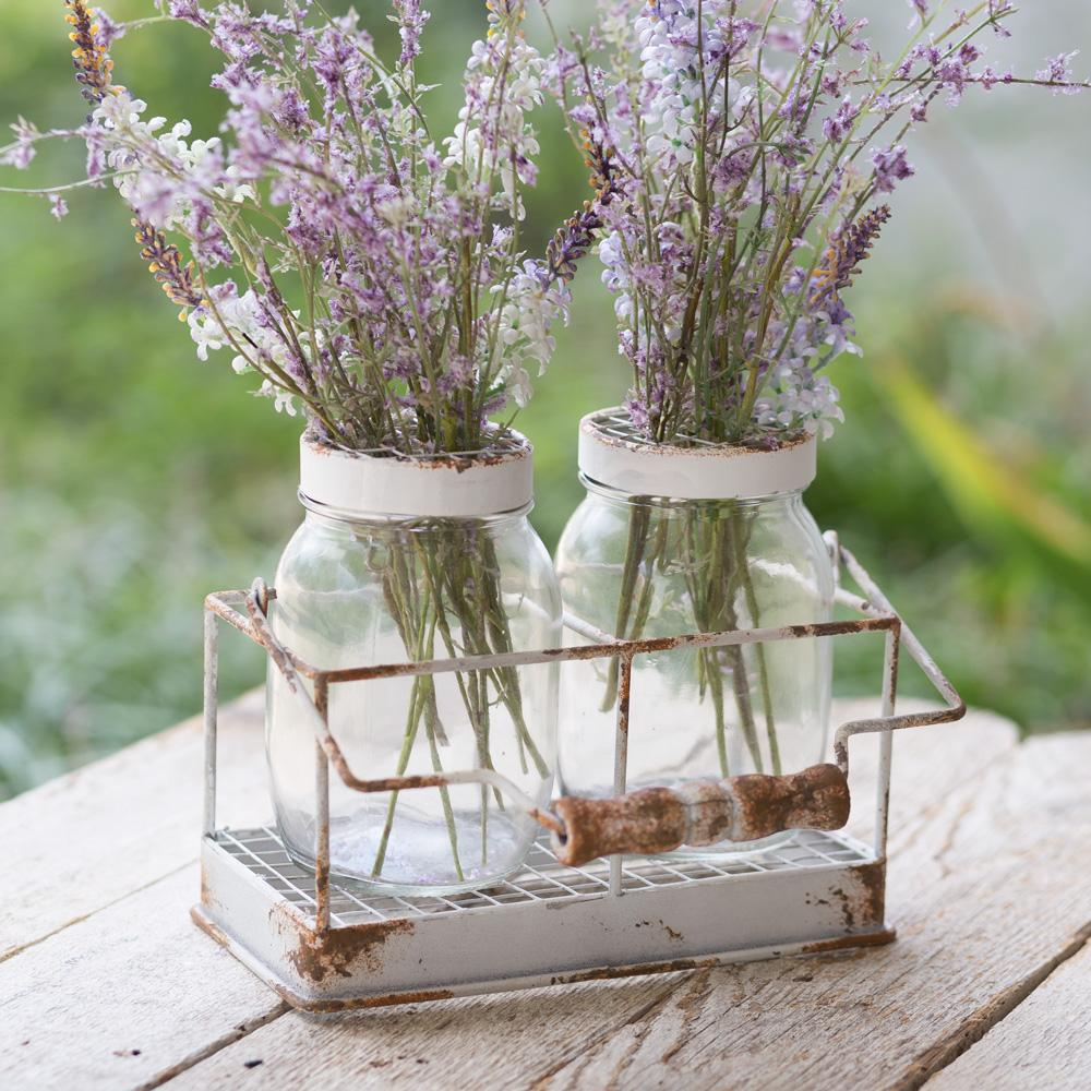 Sweet Flower Jars with Caddy