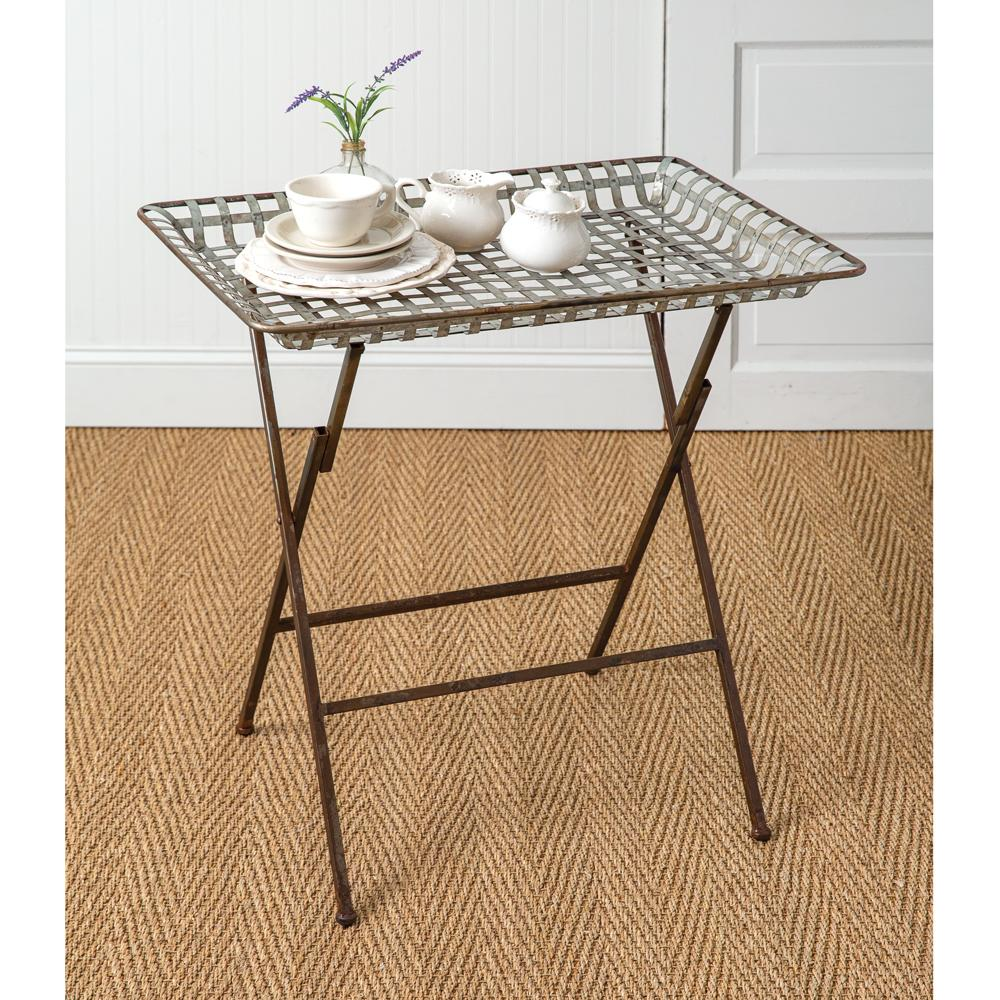 Vintage Galvanized Weave Folding Table