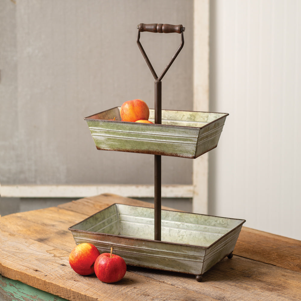 Agata Two-Tiered Galvanized Tray