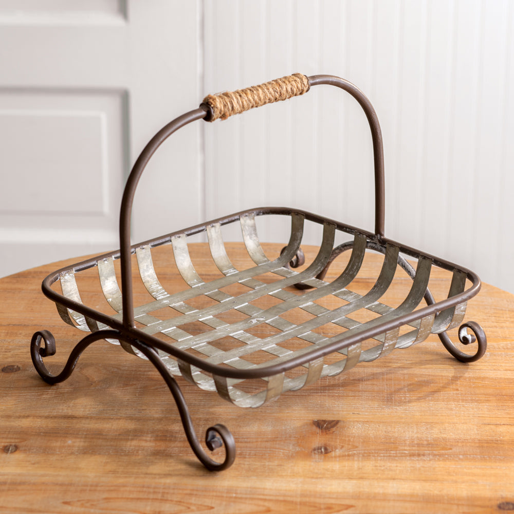 Vintage Galvanized Weave Metal Basket