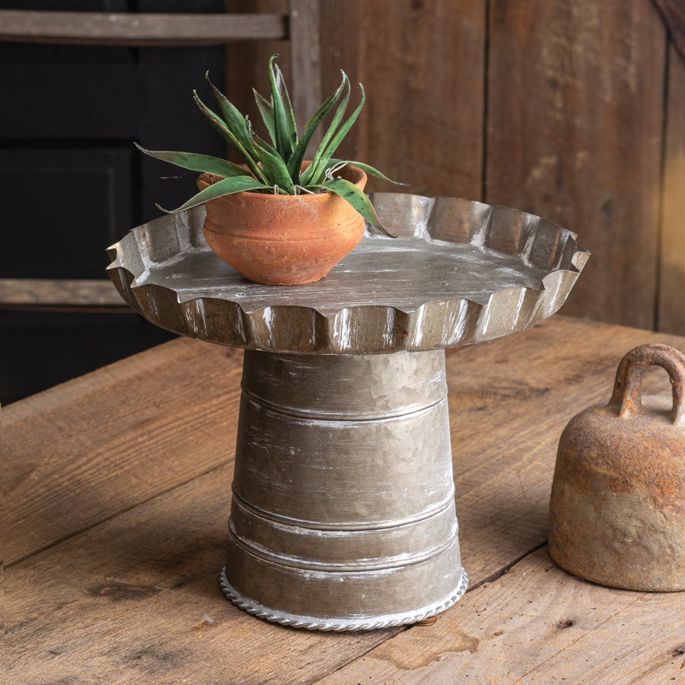 Galvanized Scalloped Stand