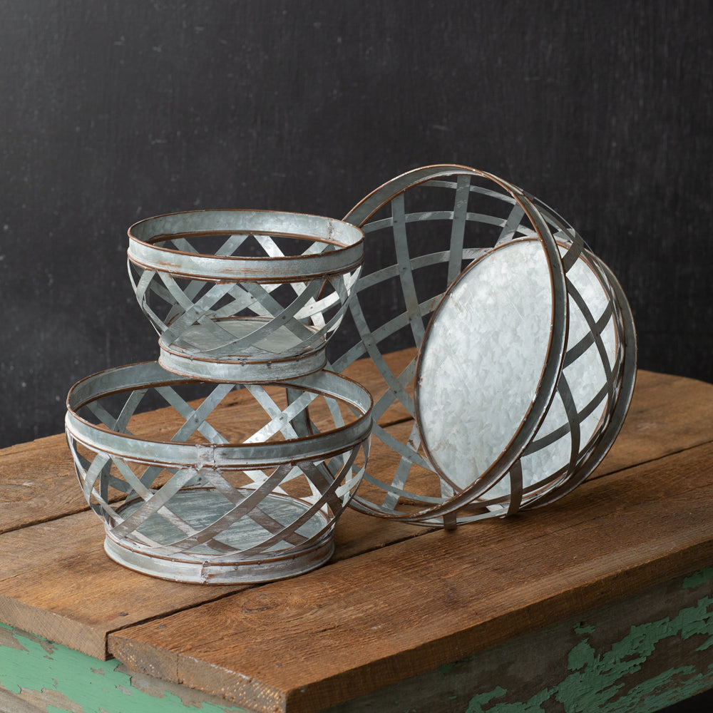 Galvanized Knitter's Basket - Set of 3