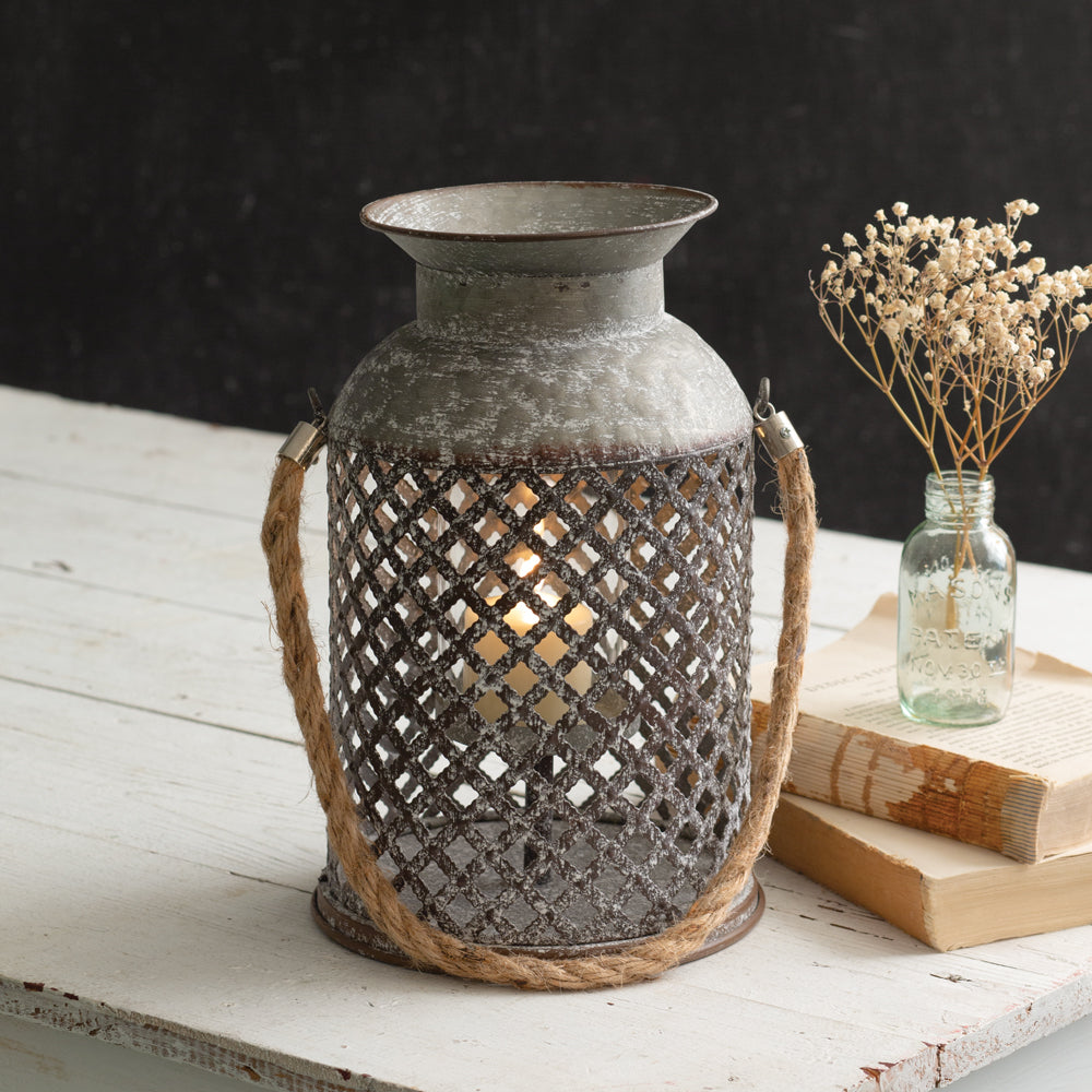 Rustic Lattice Candle Lantern