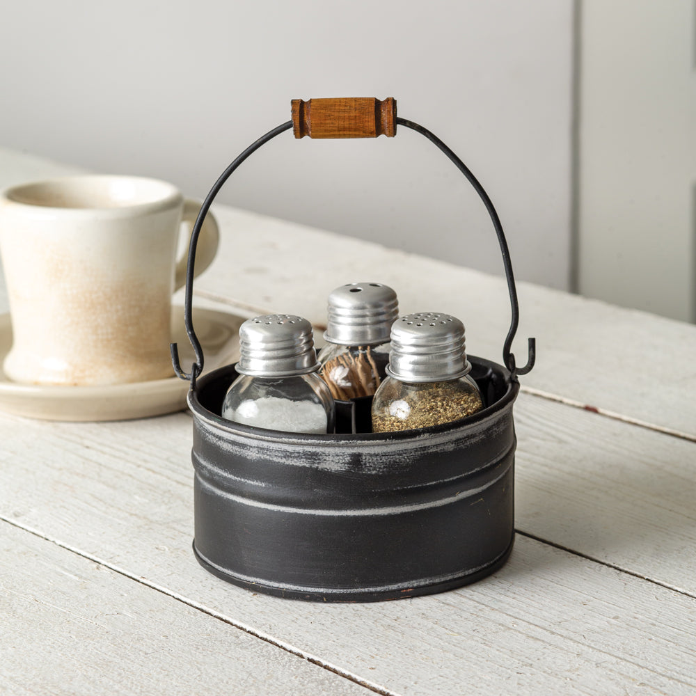 Lovely Rustic Salt, Pepper and Toothpick Caddy - Black