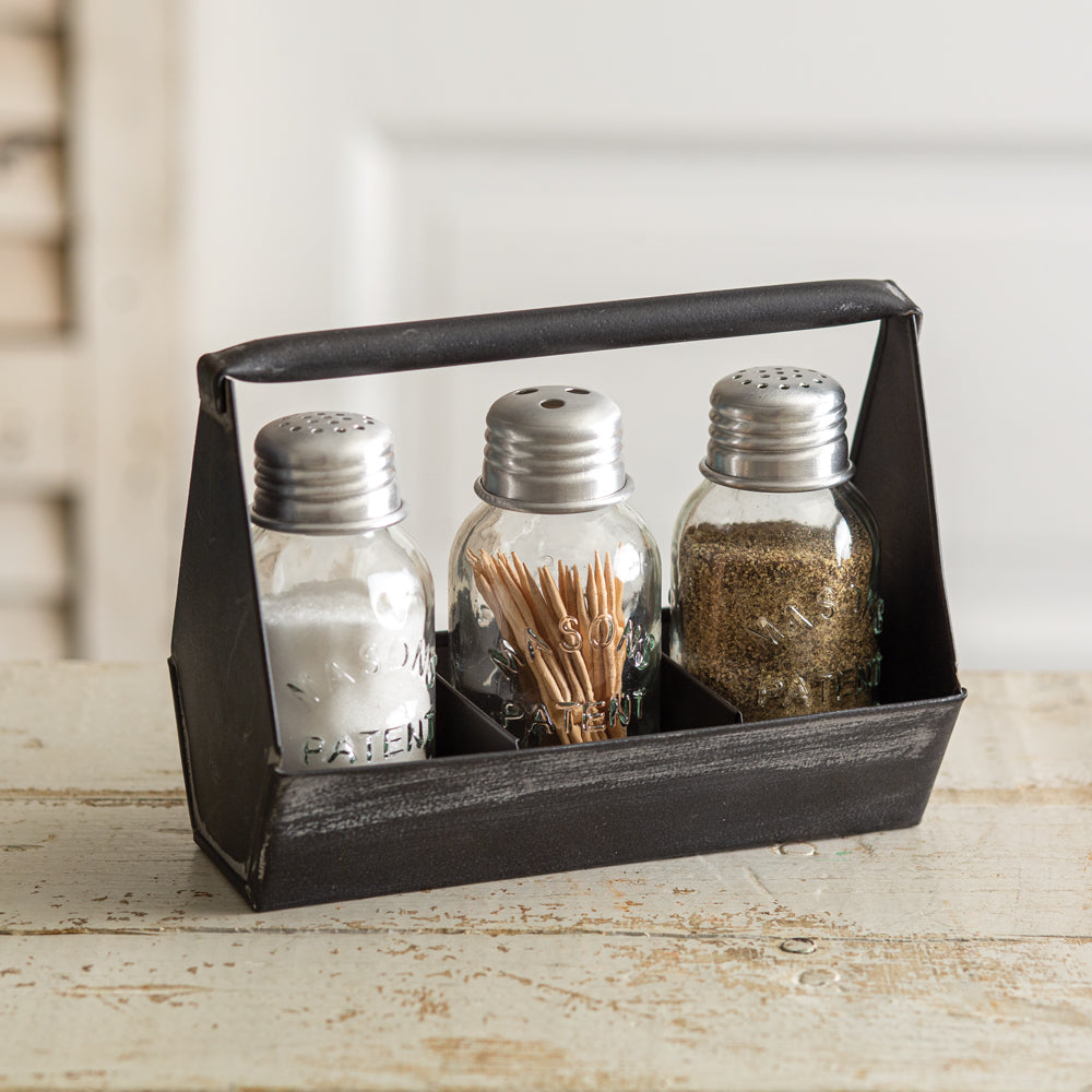 Rustic Toolbox Salt, Pepper, and Toothpick Caddy