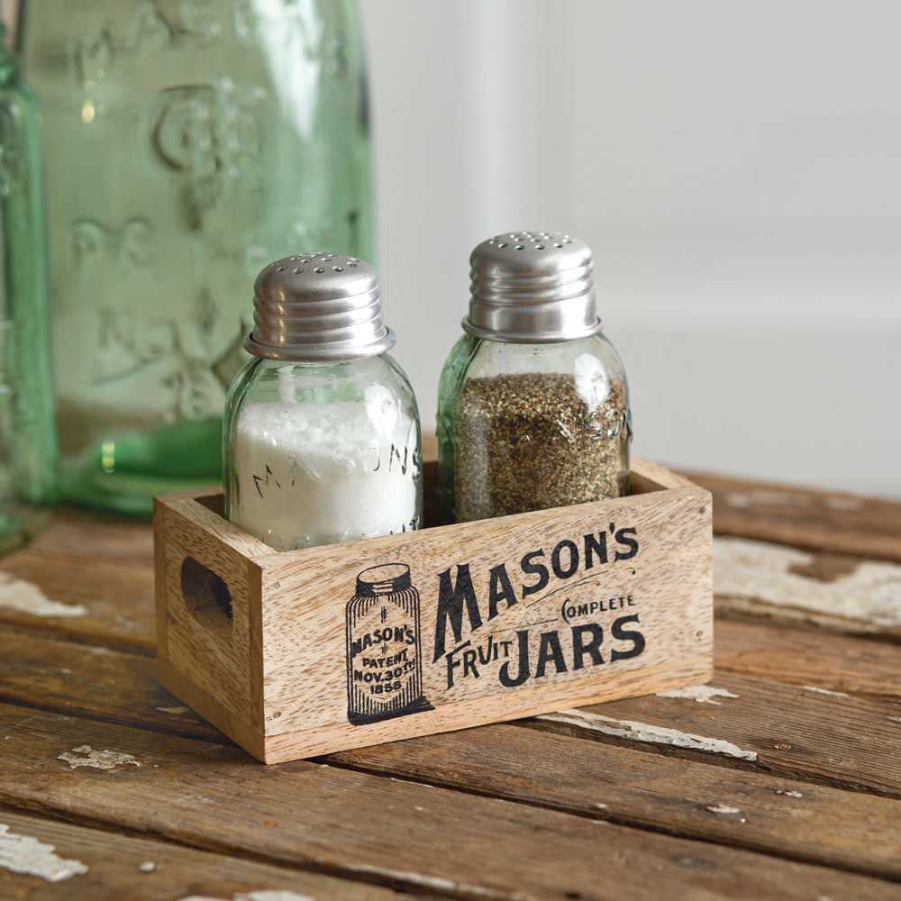 Charming Mason''s Jar Wooden Salt and Pepper Caddy - Box of 2