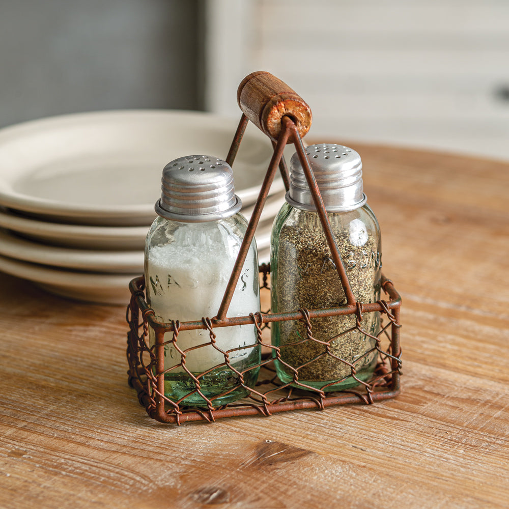 Rustic Chicken Wire Caddy with Shakers - Box of 2