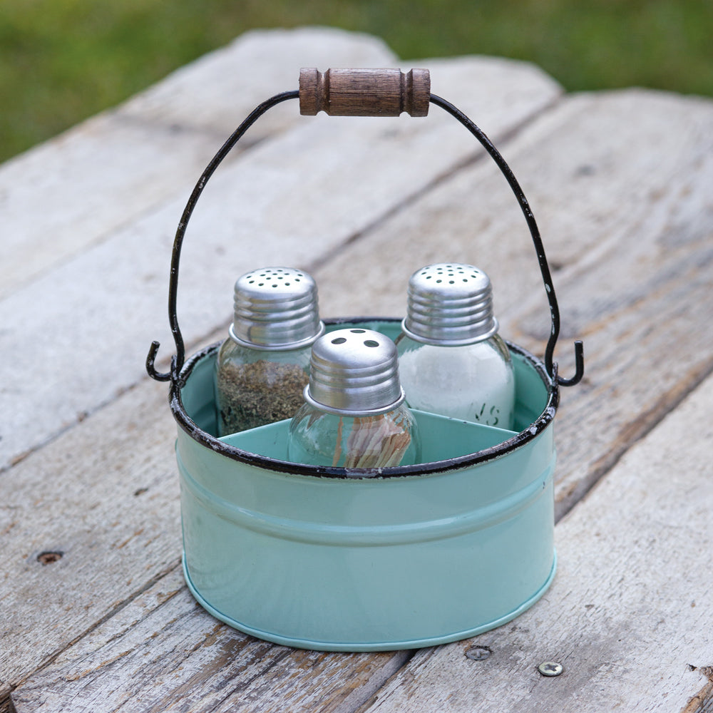 Lovely Vintage Seafoam Salt, Pepper and Toothpick Caddy