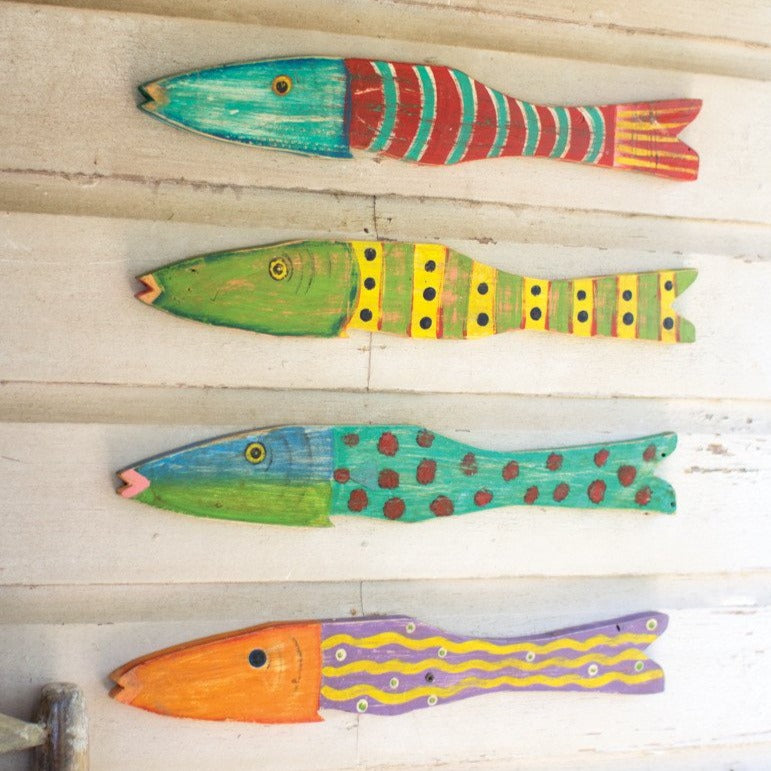 Reclaimed Folk Art Fish - Set of 4