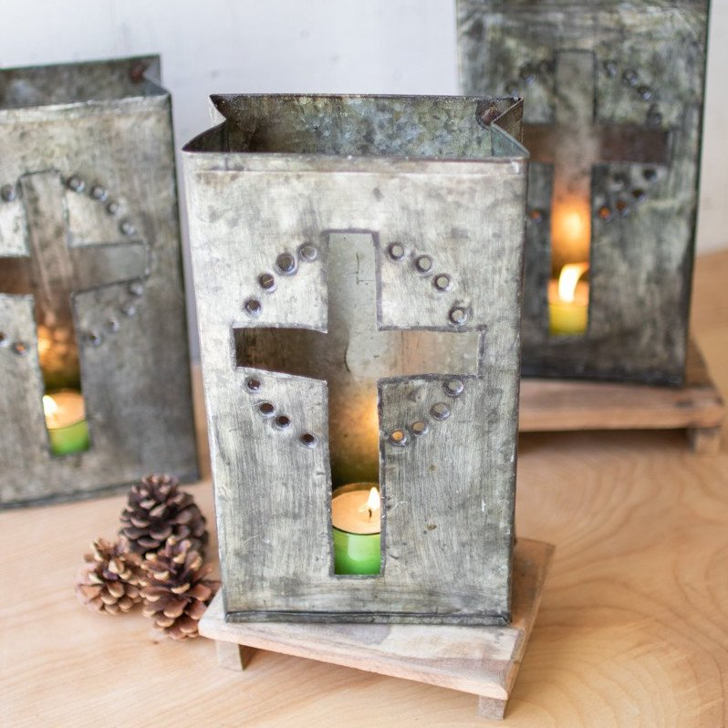 Galvanized Cross Luminary - Set of 6