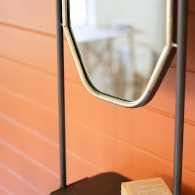 Industrial Ladder Mirror with Shelf