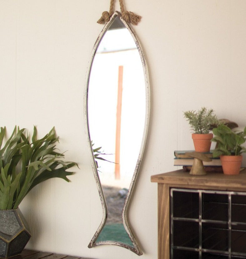 Fish Mirror with Rope Hanger