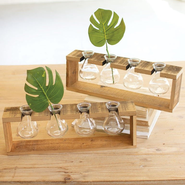 Glass and Reclaimed Wood Planter
