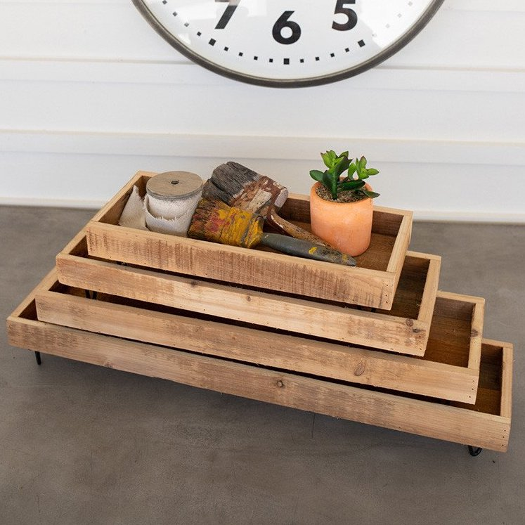 Reclaimed Wooden Trays - Set of 4
