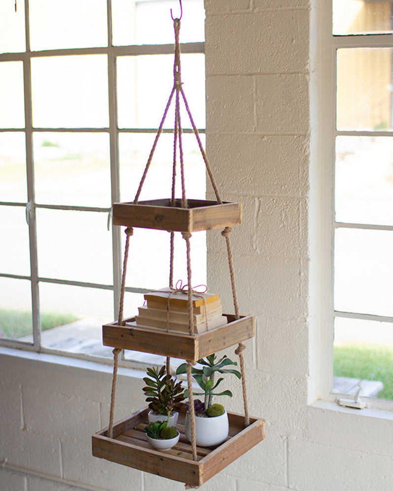 Hanging Three Tiered Reclaimed Wood Display