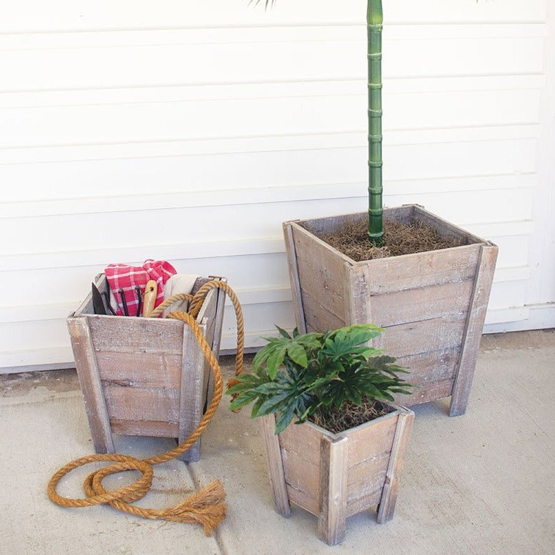 Tapered Square Timber Planters - Set of 3