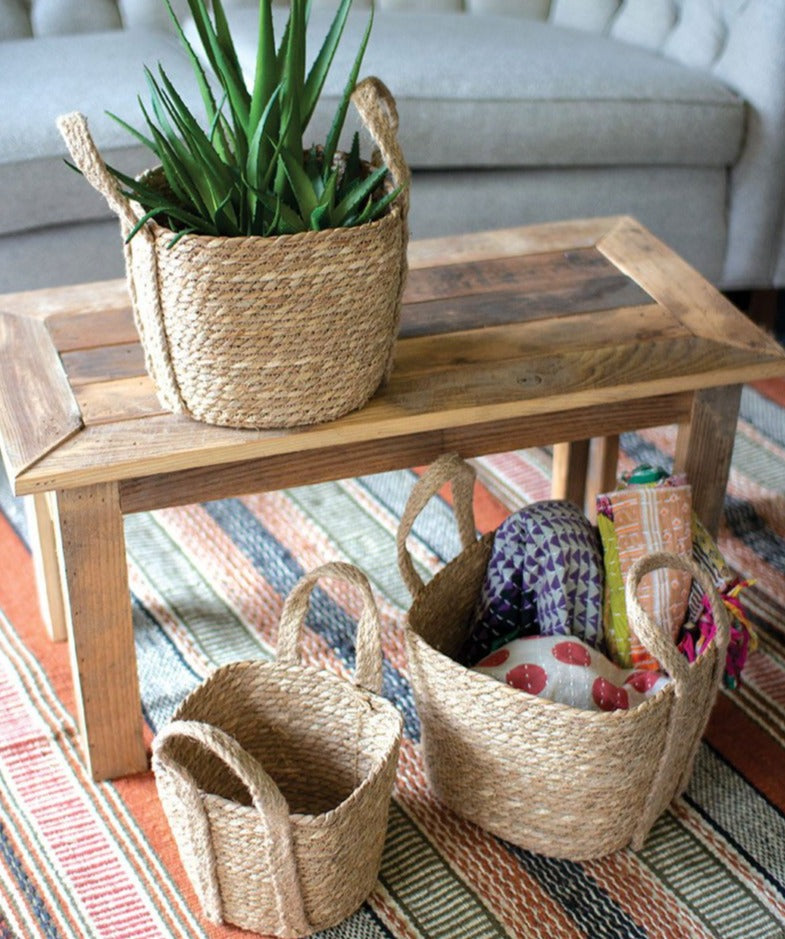 Seagrass Baskets with Handles - Set of 3