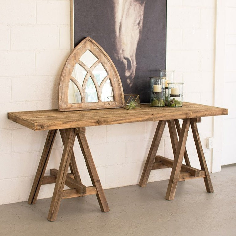 Sawhorse Base Console Table