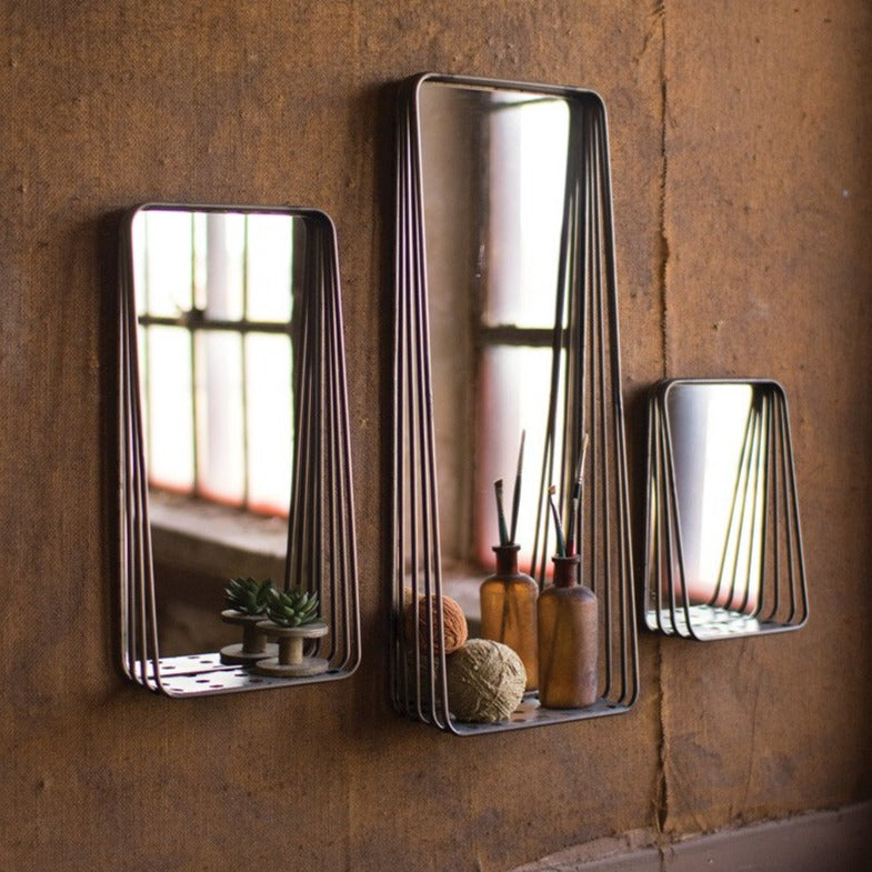 Metal Frame Mirrors with Shelf - Set of 3