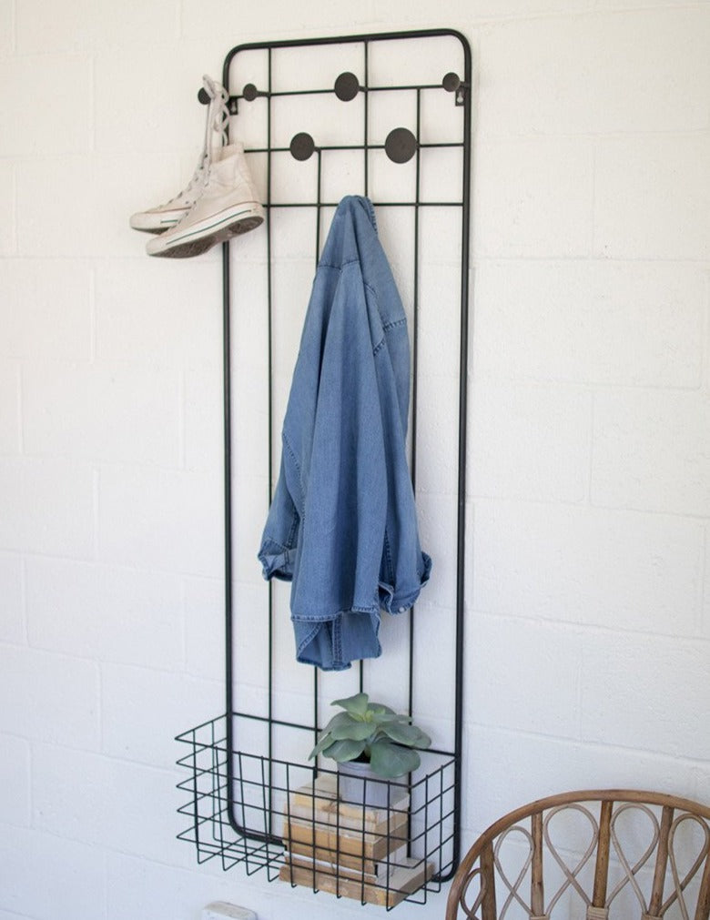 George Coat Rack with Basket