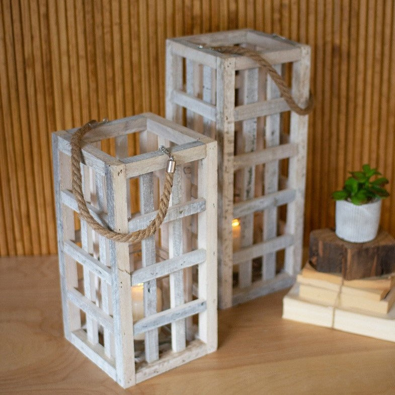 Tall Wood Candle Holder - Set of 2