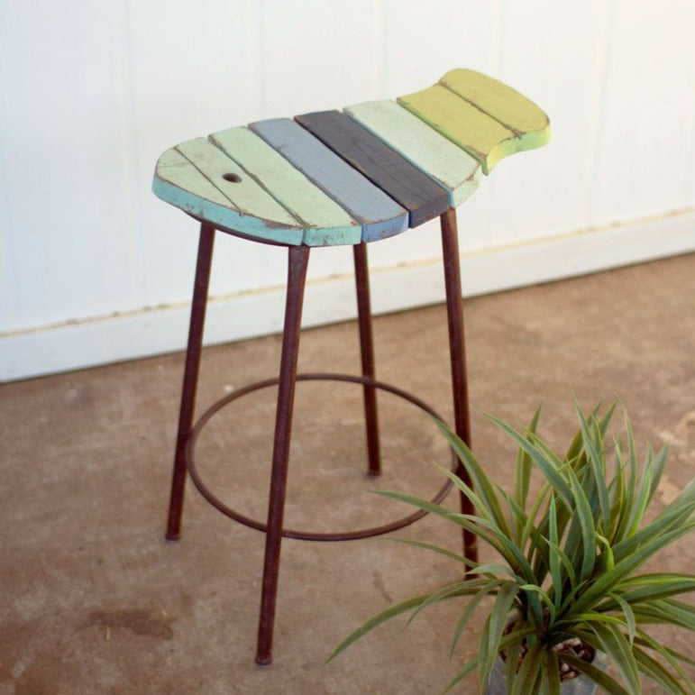 Charming Reclaimed Wood Painted Fish Stool
