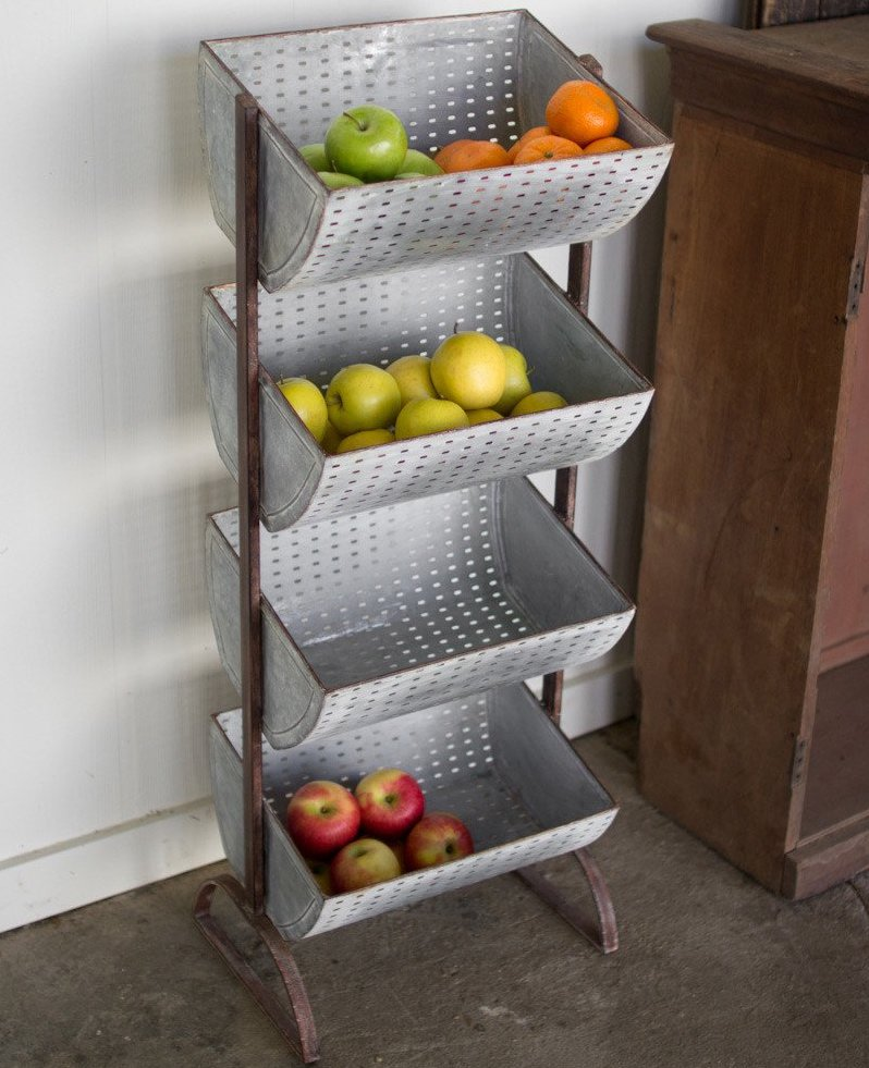 Four-Tiered Perforated Fruit Stand