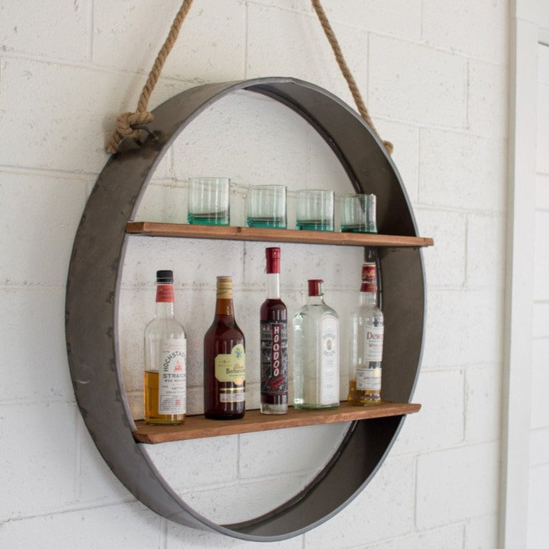 Round Iron Wine Shelf