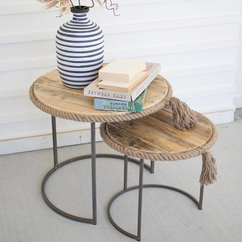 Nautical Roped Nesting Tables - Set of 2