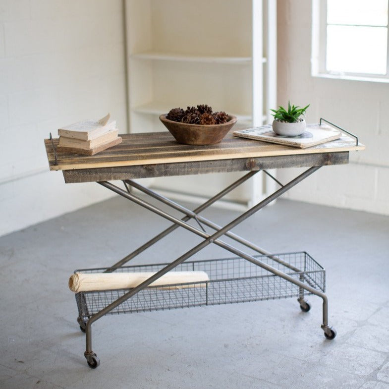 Rolling Basket and Wooden Console Table