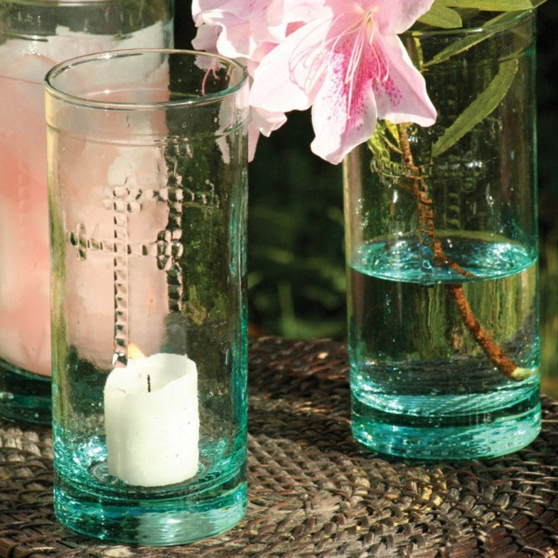Cross-detailed Glass Tumblers - Set of 6