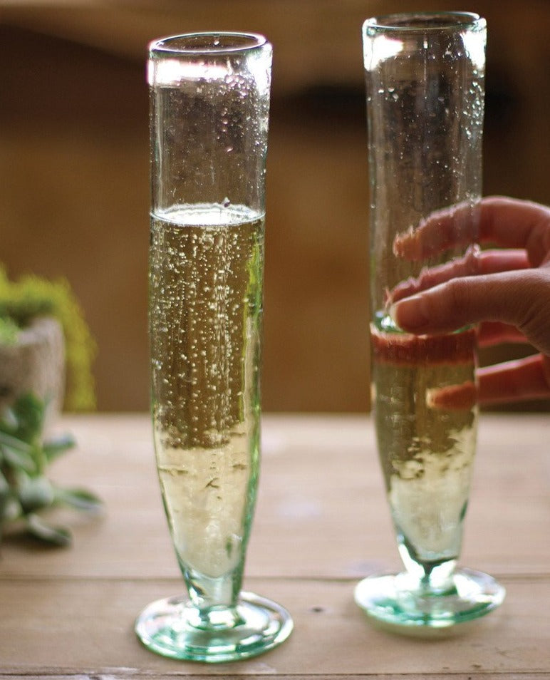 Recycled Champagne Flutes - Set of 6
