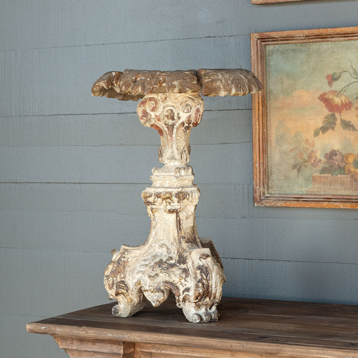 Old World Cast Relic Candle Holder