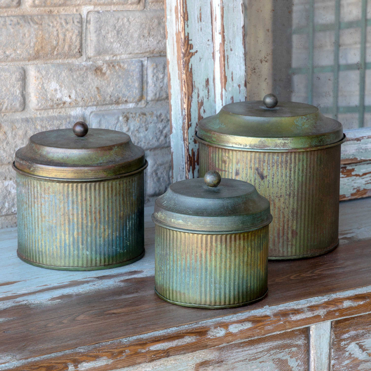 Patina Lidded Canisters, Set of 3