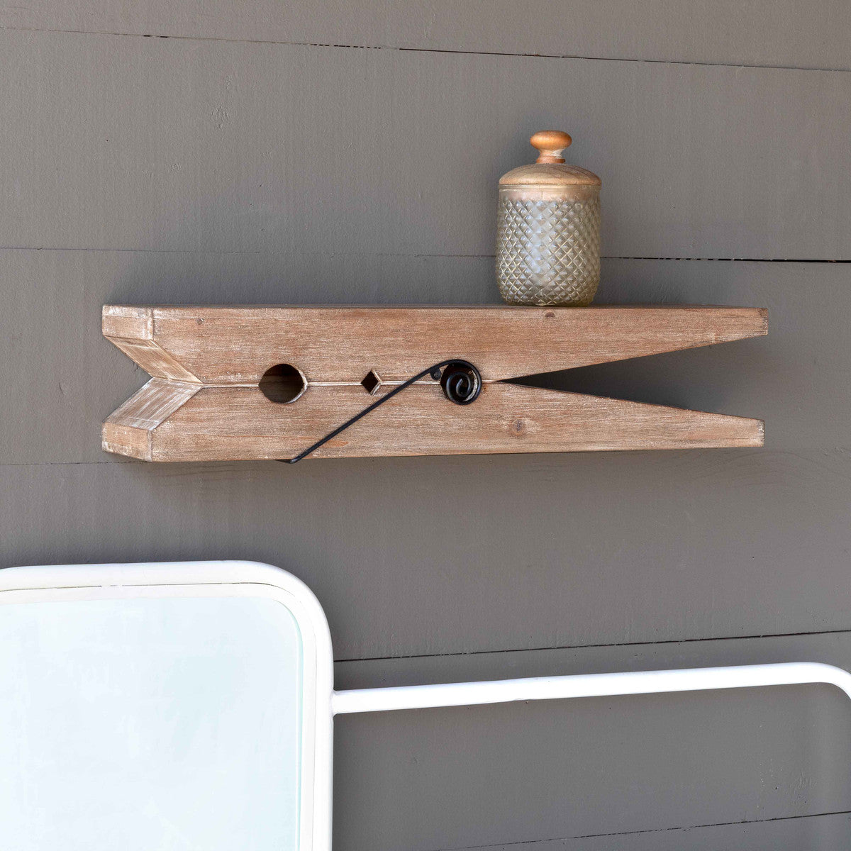 Wooden Clothespin Shelf, 24""