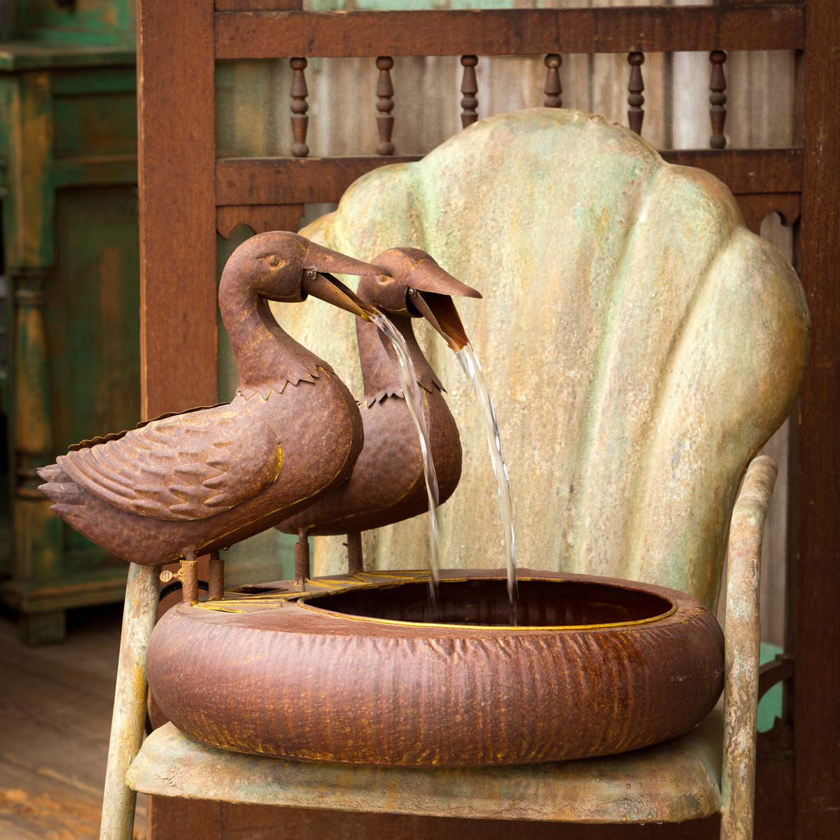 Folk Art Duck Fountain