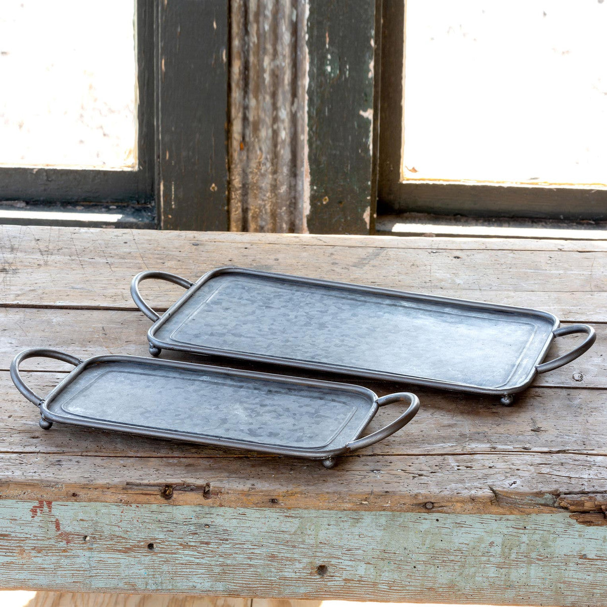 Galvanized Metal Rectangle Serving Trays, Set of 2