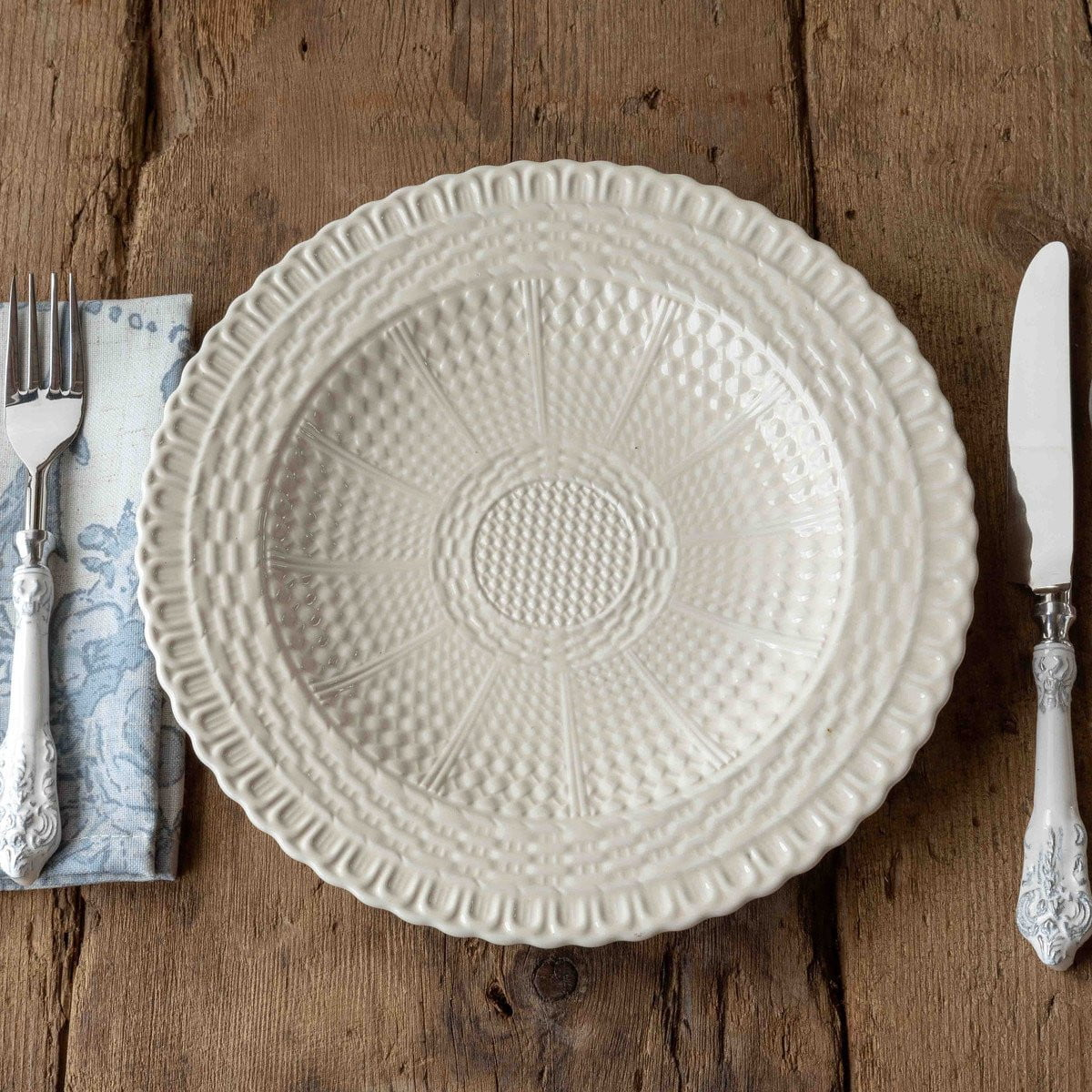 Set of 4 Creamware Basketweave Dinner Plate, 11""
