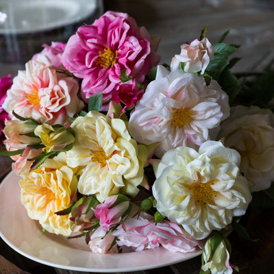 Gathered Peach Garden Roses - Set of 12 Assorted Styles