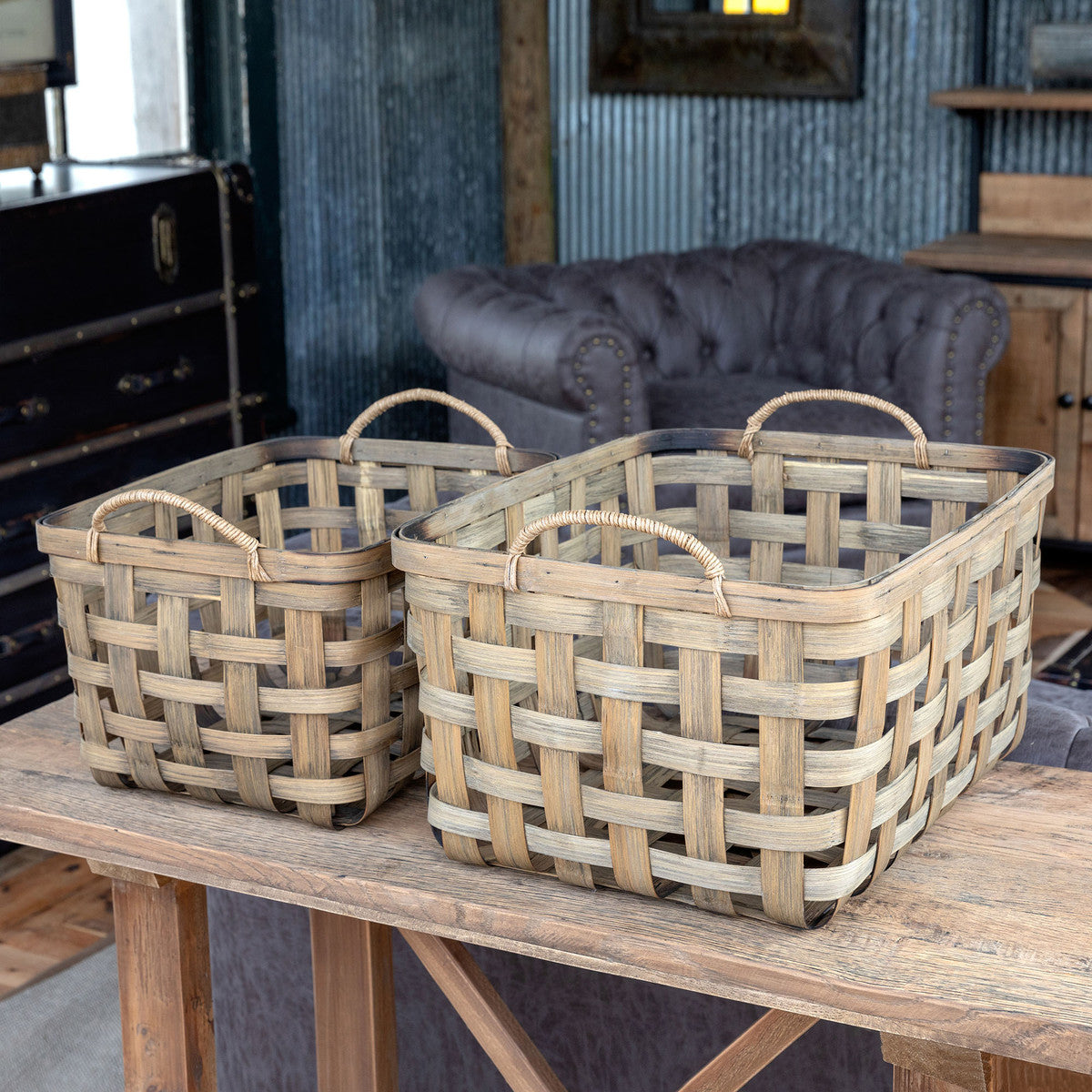 Tobacco Storage Baskets, Set of 2