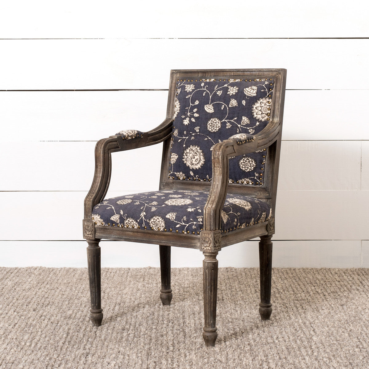 Floral Tapestry Upholstered Arm Chair