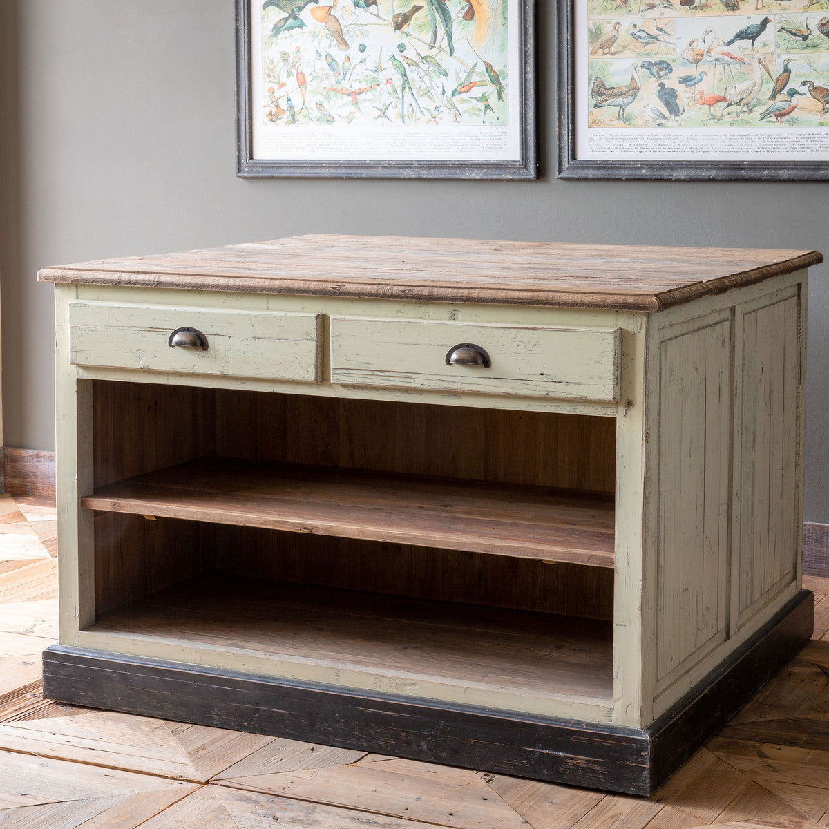 Two-Sided Worktable With Drawers
