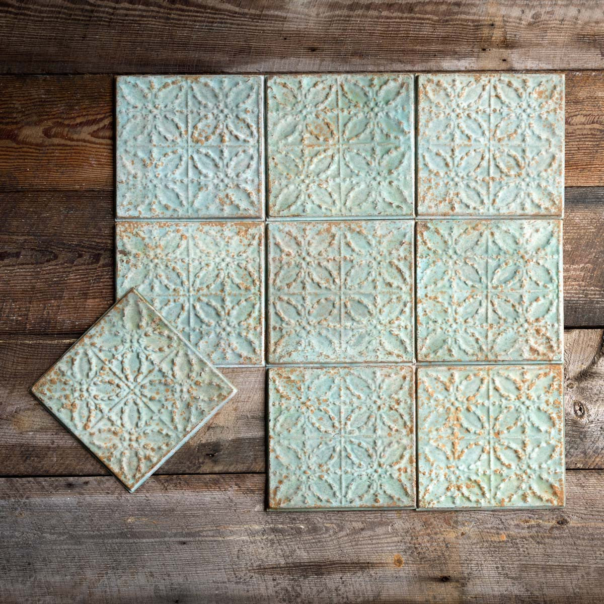 Antique Green Tin Ceiling Tile - Set of 16