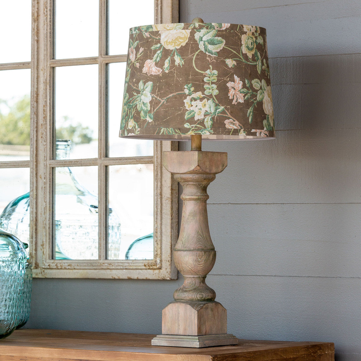 Wooden Table Lamp with Flowered Shade