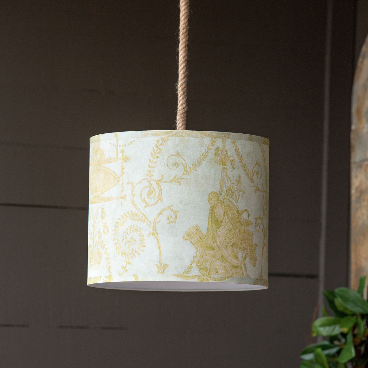 French Quarter Yellow Paper Shade Pendant Light