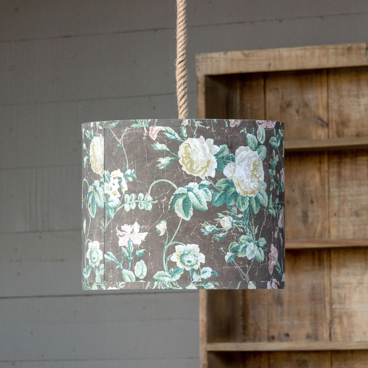 Vintage Rose Paper Shade Pendant Light
