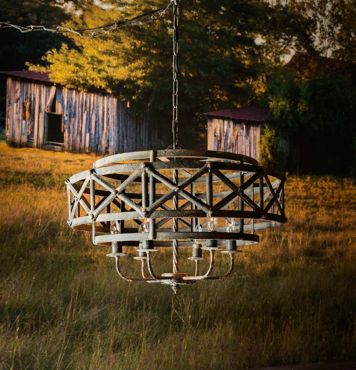 Metal Industrial Trestle Chandelier - ETA 7/3/2020