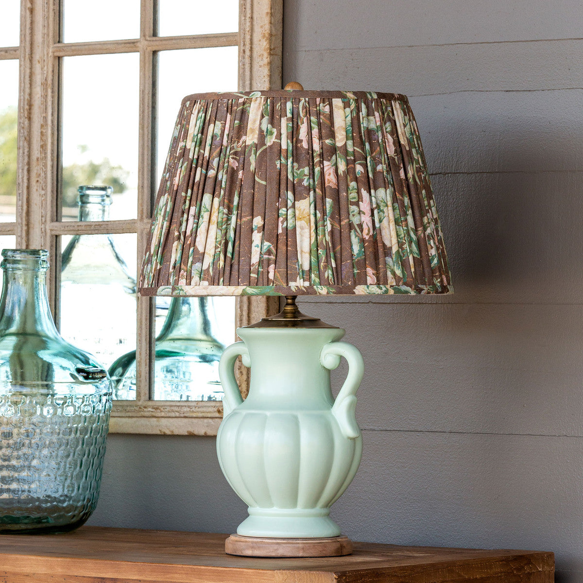 Ceramic Table Lamp With Vintage Rose Pleated Shade